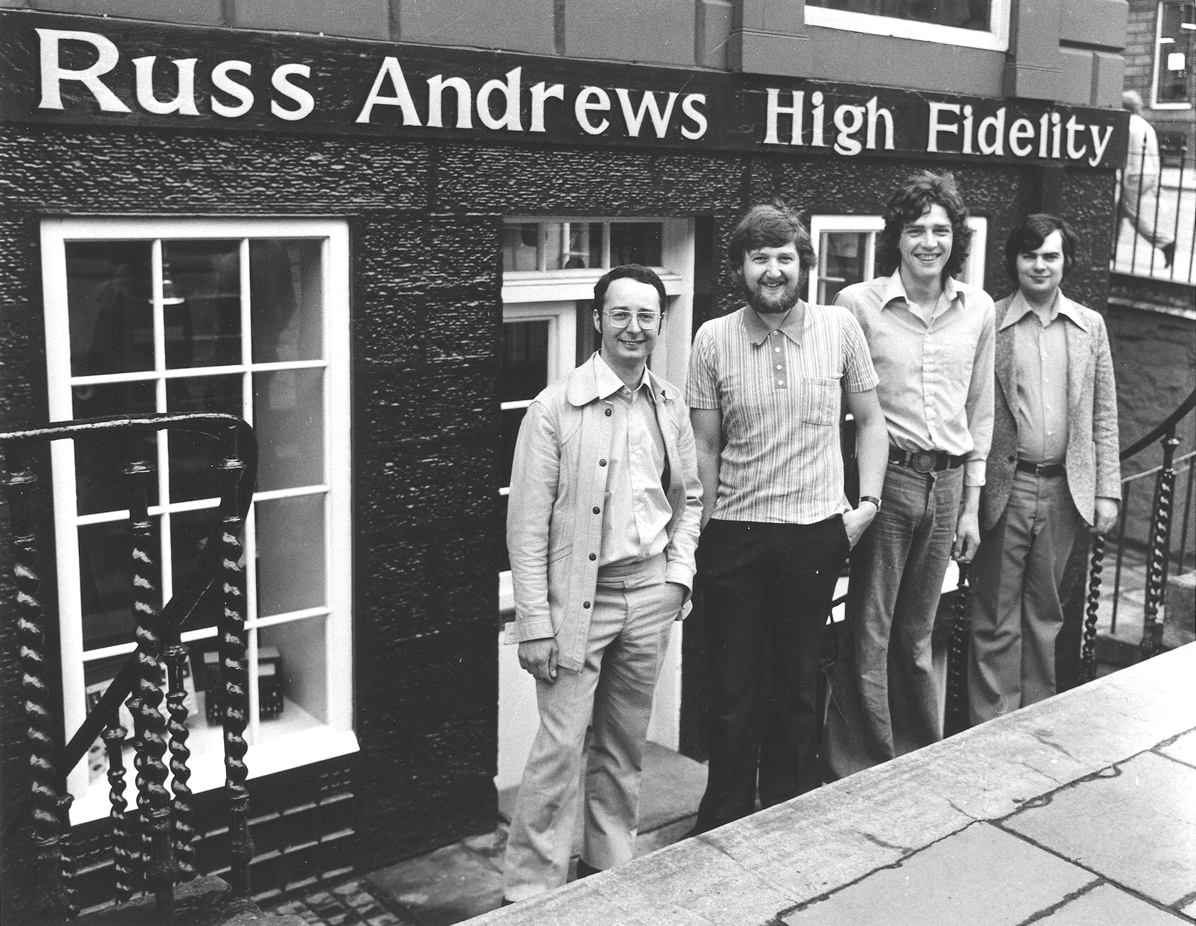 Russ Andrews outside his shop, Edinburgh 1976